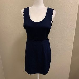 Very J Navy Blue Overall Mini Dress